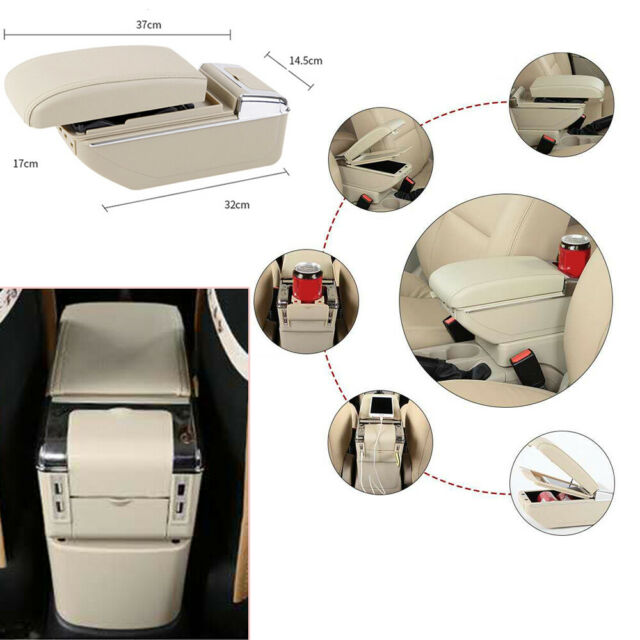 7USB Rechargeable Car SUV Central Container Armrest Box Storage w//Light Leather