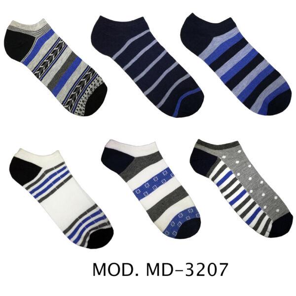 12 Paia Di Calzini Uomo Caviglia In Cotone Vari Colori E Fantasie Md-3207
