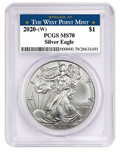 2020-1oz-Silver-Eagle-PCGS-MS70-West-Point-Label