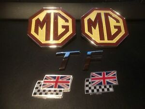 MG-TF-badge-set-front-or-rear-large-MG-Badge-rare-70mm-TF-and-chequerred-flags