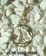 Halskette Eiffelturm Souvenir Paris Kette echt vergoldet Gold Tour Eiffel France