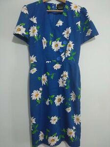 Simon Ellis London blau weiß Daisy Kleid Grösse 12 Sommer Vintage Designer