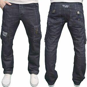 ENZO-pour-hommes-de-marque-CARGO-COMBAT-COUPE-decontracte-Jeans-jambe-droite