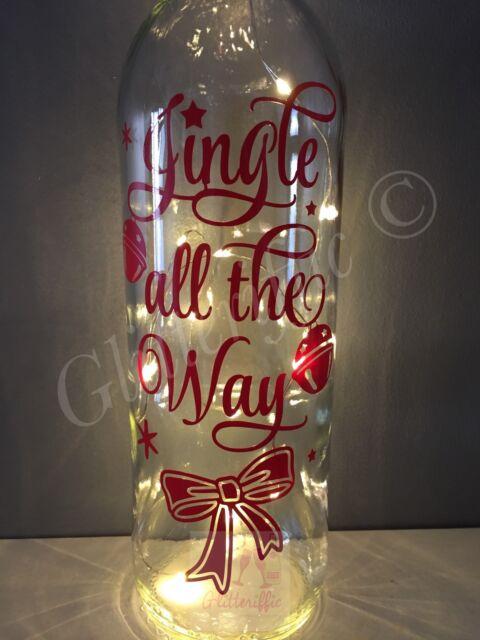 Jingle All The Way Christmas Bell Design Diy Wine Bottle Vinyl Decal