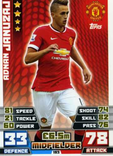 182-198 man united-base Match attax 2014//15 trading cards