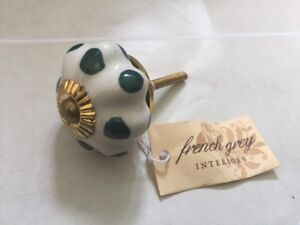 Brand New French Grey Shabby Chic Drawer Door Handles//knobs Ivory Flower Knob
