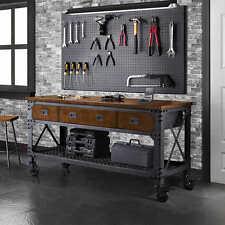 Rolling Workbench Tool Storage Garage Work 3 Drawers Wood Steel Mobile Cart Shop