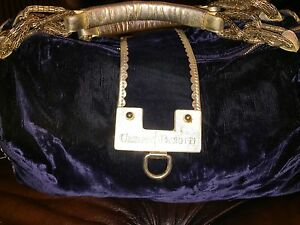 Grote Velour Bowling Paciotti Leather Handles Cesare Blue handtas Piping 6vYbfgy7