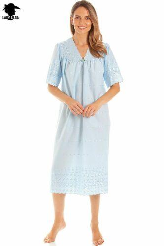 Womens V Neck Embroidery Anglaise Nightdress Nightie Nightwear Ladies LO.1090
