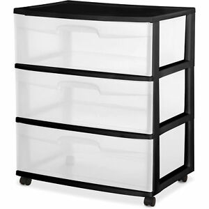 Etonnant Sterilite 3 Drawer Wide Cart Plastic Storage Organizer Rolling 3drawer Black