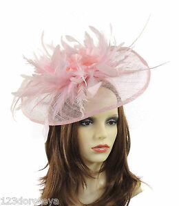 Image is loading Pale-Pink-Fascinator-Hat-for-weddings-ascot-proms- cd5fa0941f1
