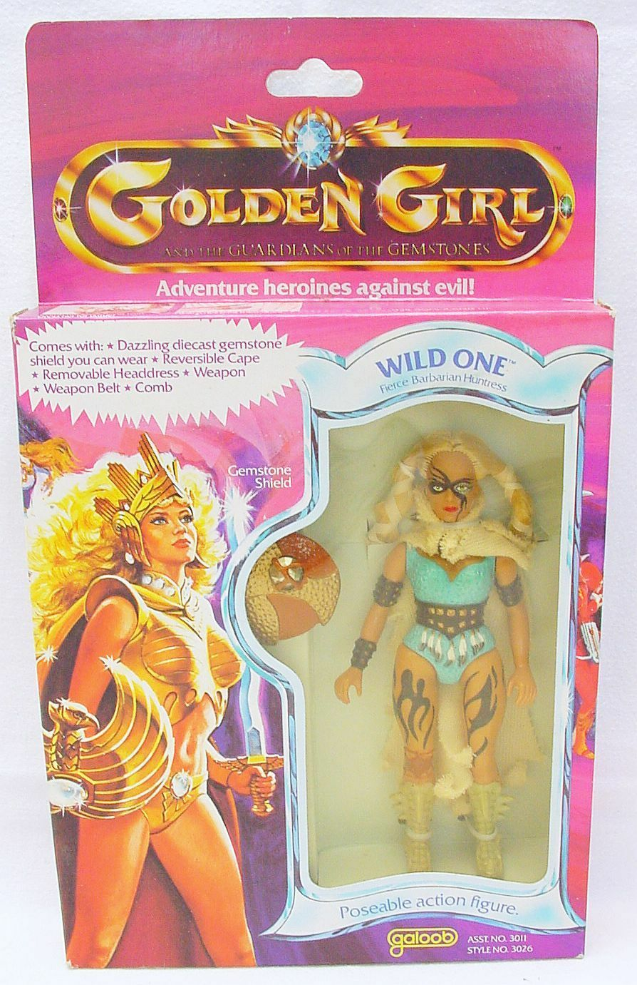 Galoob GoldEN GIRL WILD ONE Fierce Barbarian Huntress Action Figure MISB`84 RARE