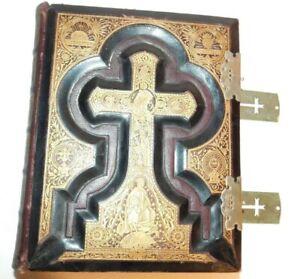 Vtg-Antique-Douay-Rheims-Family-Holy-Bible-1883-Haydock-Gold-Leather-Original