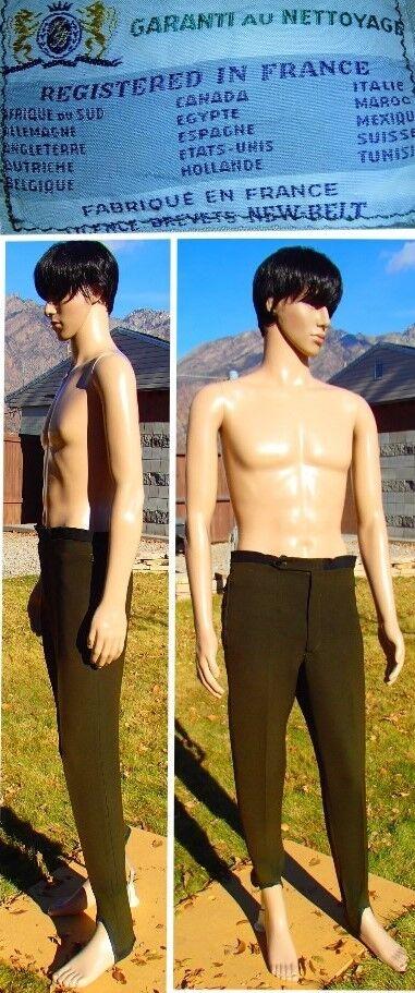 Vtg 50's FRENCH WOOL SKI PANTS stretch eclair zippers brown WW II mens medium