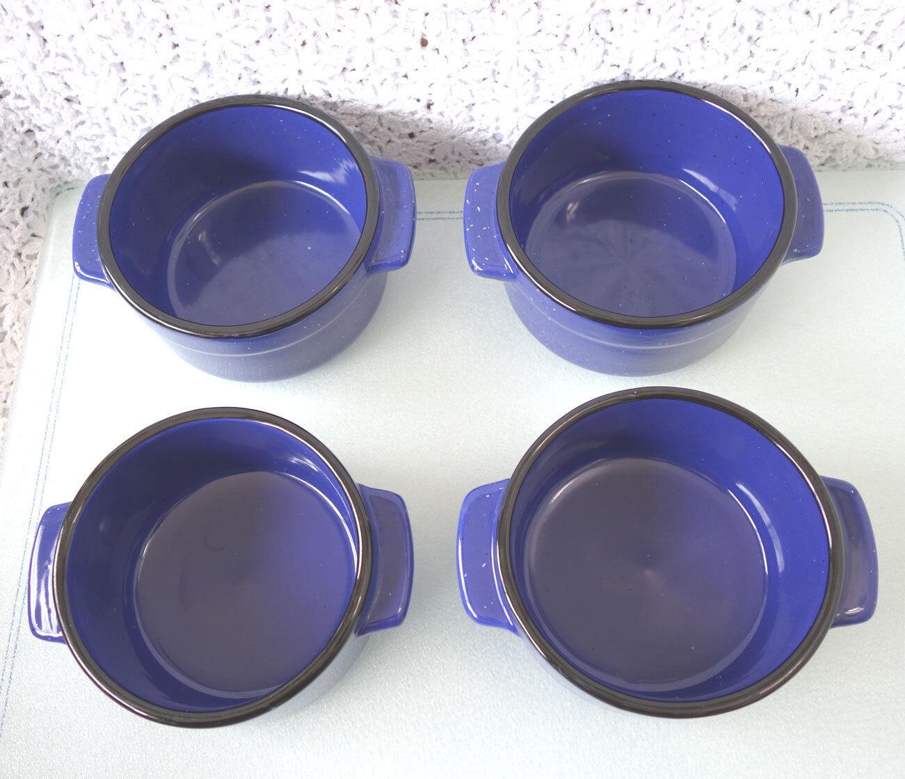 4 MINI COCOTTE, Ramekin, Baking Dish STONEWARE Blau Weiß specs Von Pok & Chang