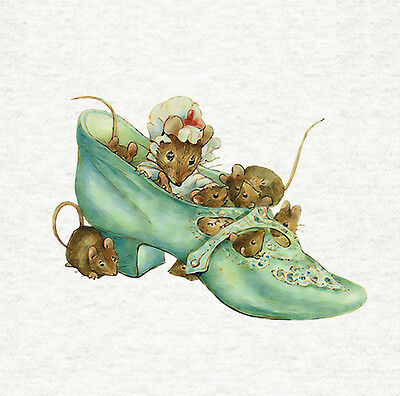 """Fabric Cushion Panel Peter Rabbit /""""Mrs Mouse In A Shoe/"""" Craft Quilting"""