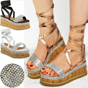 33940ea82c042 Image is loading Womens-Ladies-Flatform-Diamante-Wedge-Sandals-Platform- Ankle-