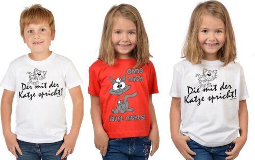 Katze Sprüche lustiges Katzen Motiv T-Shirt Kinder Kindershirt Tier Sprüche