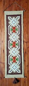 Vintage Hand-Embroidered Needle Point Tapestry Wall Hanging Bell Pull Scroll Art
