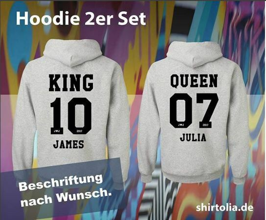 2x Sweatshirt King & Queen nach Wunsch bedruckt Partnerlook 2019 mit Name Datum