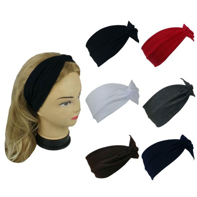 New Stretchable Turban Twist Yoga Hairband Headband Solid Colors Sports