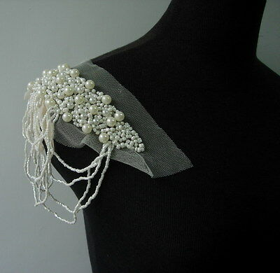 EP88 Trendy/Chic Fringed Bugle Pearl Beaded Epaulette Applique Motif Sew On
