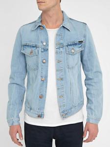 Nudie-senores-Denim-Jeans-chaqueta-Billy-strumming-Indigo-slim-fit-talla-s