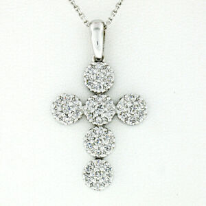 New-14K-White-Gold-0-85ctw-Ideal-Cut-Diamond-Multi-Circle-Cluster-Cross-Pendant