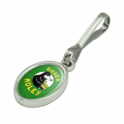 Guaca Moley Mole Eating Guacamole Funny Humor Oval Charm Zipper Pull Aid