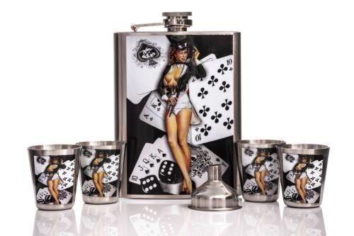 STAINLESS STEEL 8OZ HIP FLASK FUNNEL ALCOHOL VODKA WHISKEY HOLDER POCKET LARGE