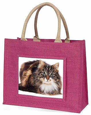 Schön Braun Gefleckte Katze Große Rosa Einkaufstasche Weihnachtsgeschenk