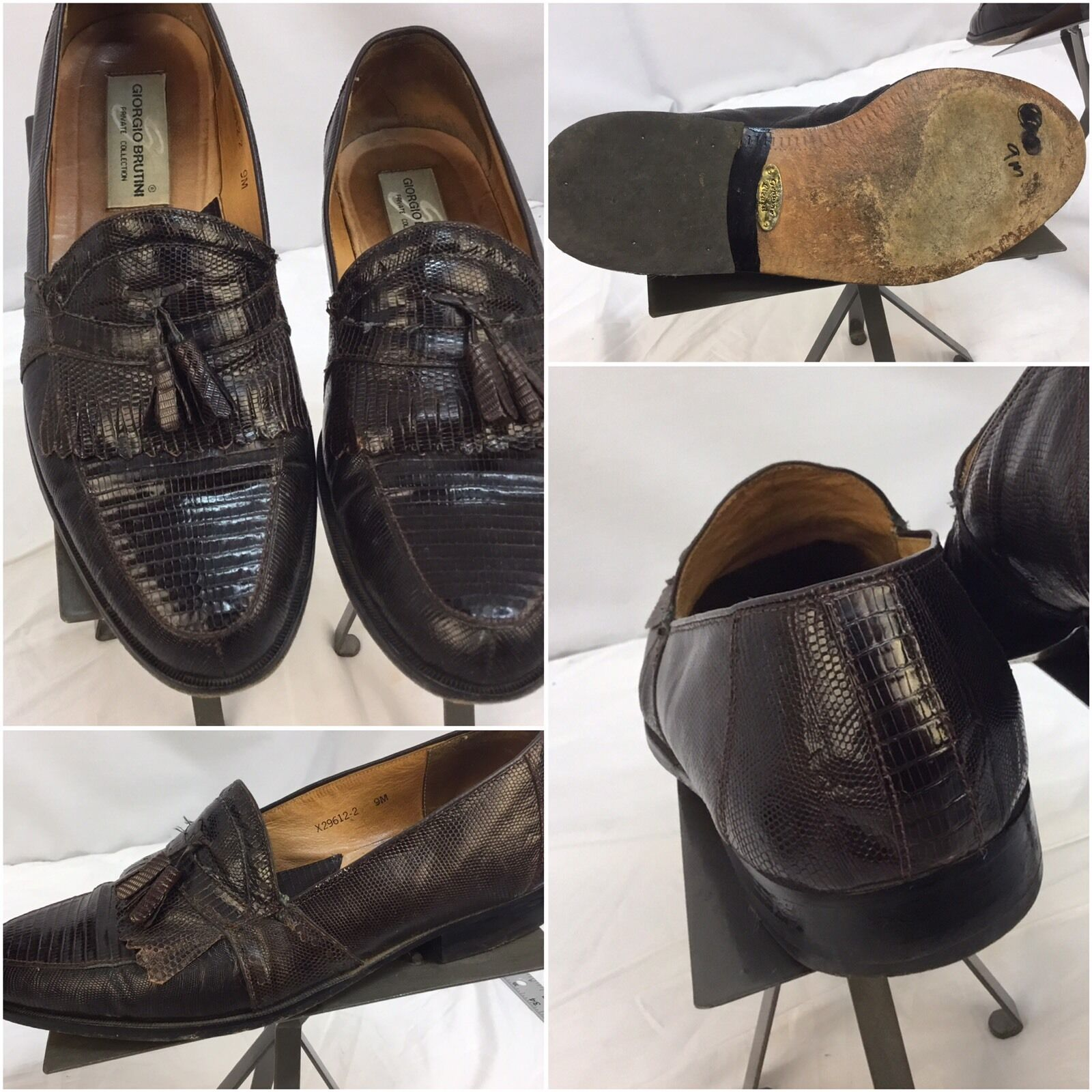 Giorgio Brutini Dress shoes 9 M Brown Loafer Lizard Private Collection YGI E7