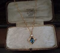 Vintage Montana Blue Diamond Crystal Pendant Necklace Gold Plated.