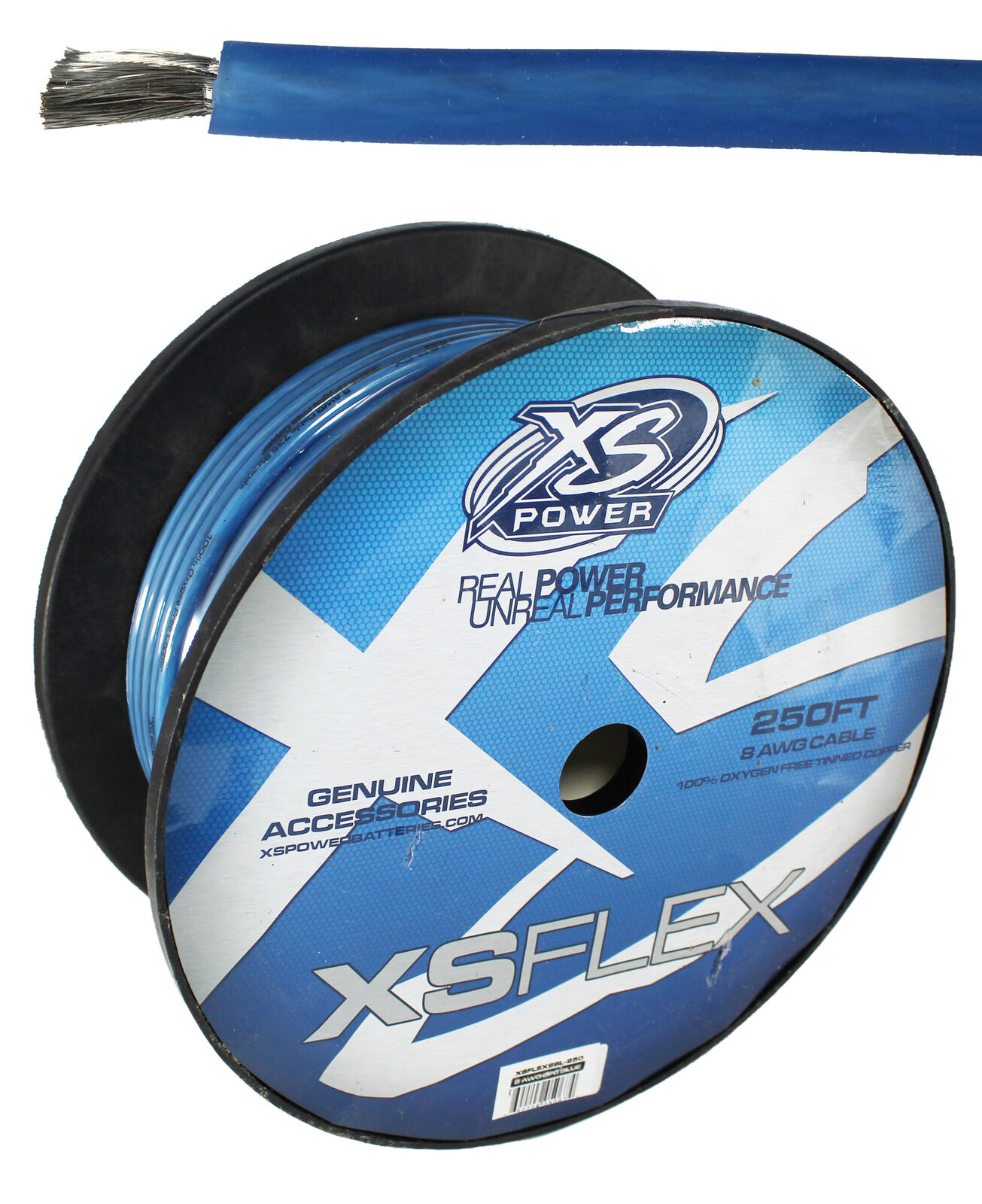 XS Power XSFLEX8BL-250 250 FT Soft Power Ground Wire Blue 8 Ga For Cars