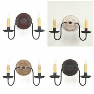 Rustic Wood Metal Wall Sconce 4 Primitive Distressed Country Finishes 2 Candle Ebay
