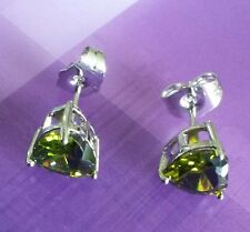 SS Heart shaped green peridot silver white gold gf stud earrings 7mm BOXD PlumUK