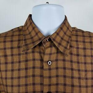 Robert-Talbott-Mens-Brown-Windowpane-Check-Dress-Button-Shirt-Sz-Medium