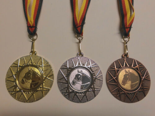 Reiten Dressur Kinder Medaillen 3er Set mit Band&Emblem Pokal Turnier (e225)