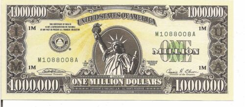 NEGOTIABLE I.A.M $ 1 MILLION - NOT REAL MONEY UNC US ,NON