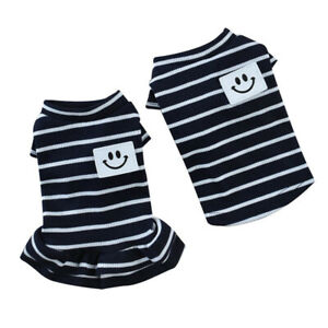 Striped-Pet-Dog-Clothes-Cotton-Summer-Dog-Dress-Classic-Small-Dogs-Yorkie-Shirts