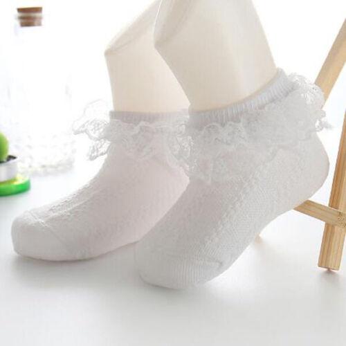 Newborn Kids Baby Girls Frilly Lace Bow Tutu Socks Infant Toddler Ankle Socks UK