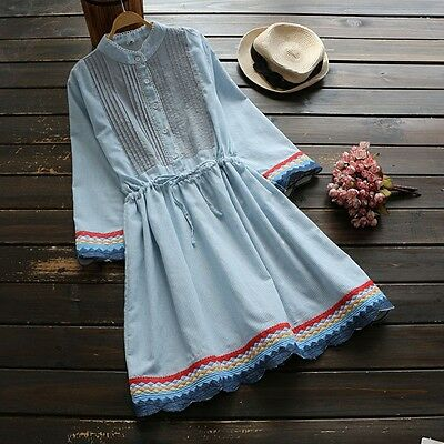 Women Dress Japan Vintage National style Mori Girl Embroidery Casual Pinstripe