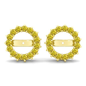 Details About 1 20 Carat Yellow Round Diamond Solitaire Stud Earring Jackets 14k Gold