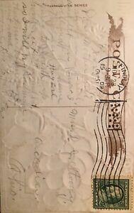 1909-Thanksgiving-TURKEY-Grapes-Embossed-Gilt-Postcard-ANTIQUE-Original