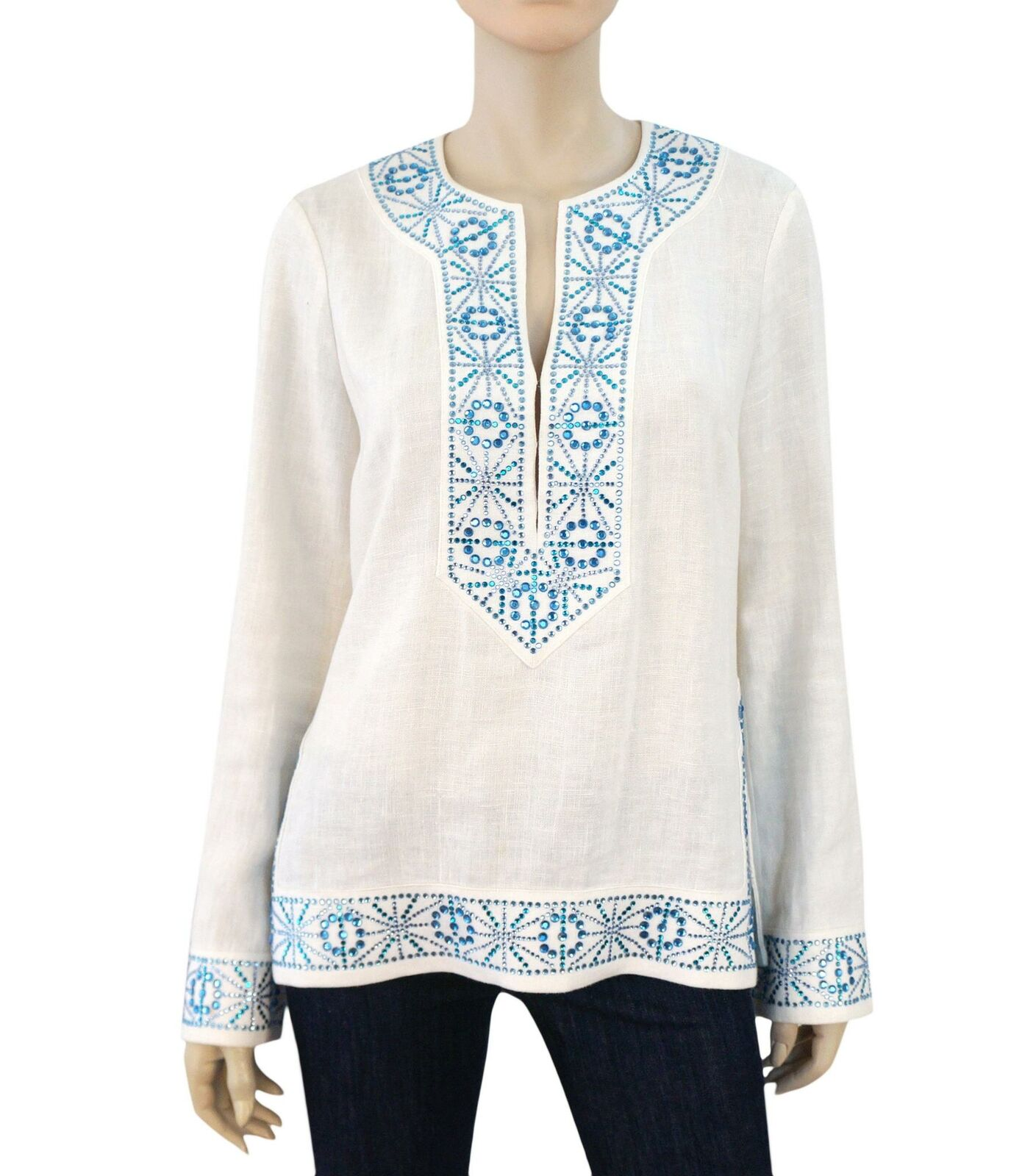 TORY BURCH Crystal Embellished Weiß Linen Tunic Top S