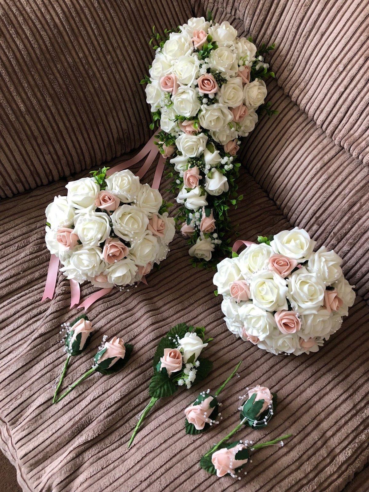 Mariage Fleurs XL bridal bouquet fleur Paquet (Bundle) Ivoire & Peach
