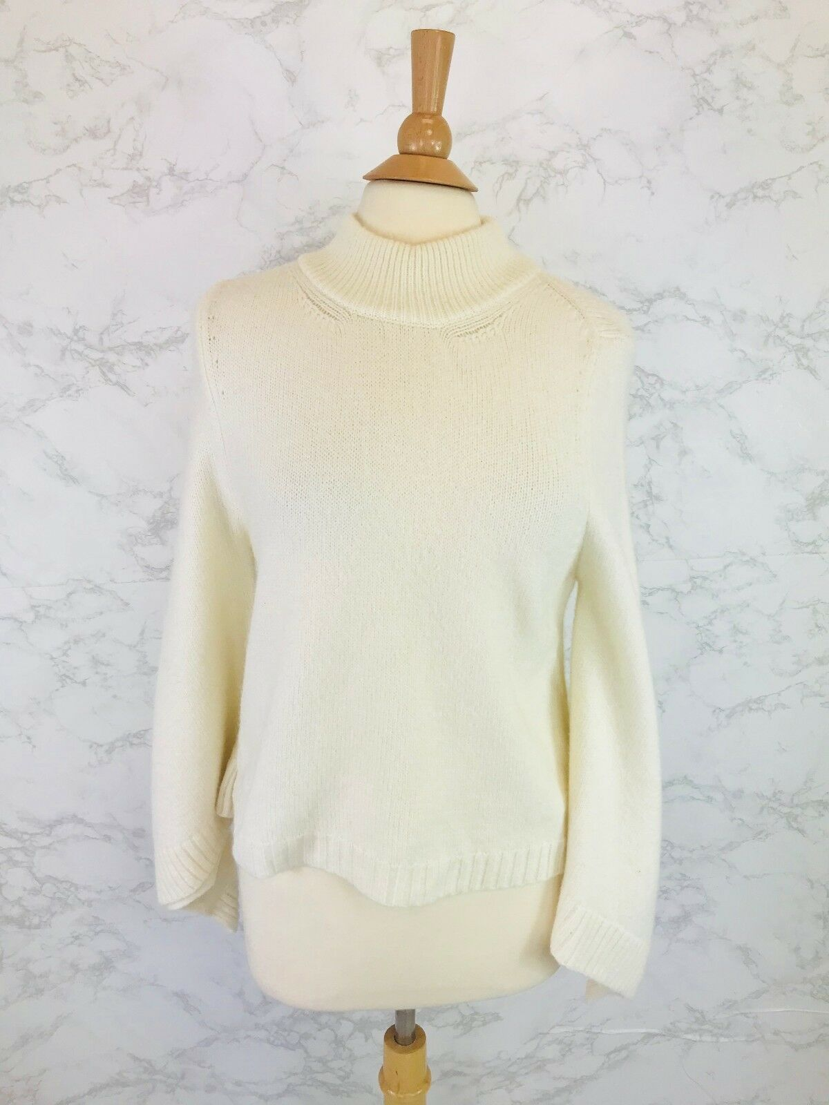 Anthropologie Cashmere Collection Women's Ivory Bell Sleeve Sweater Size S  118