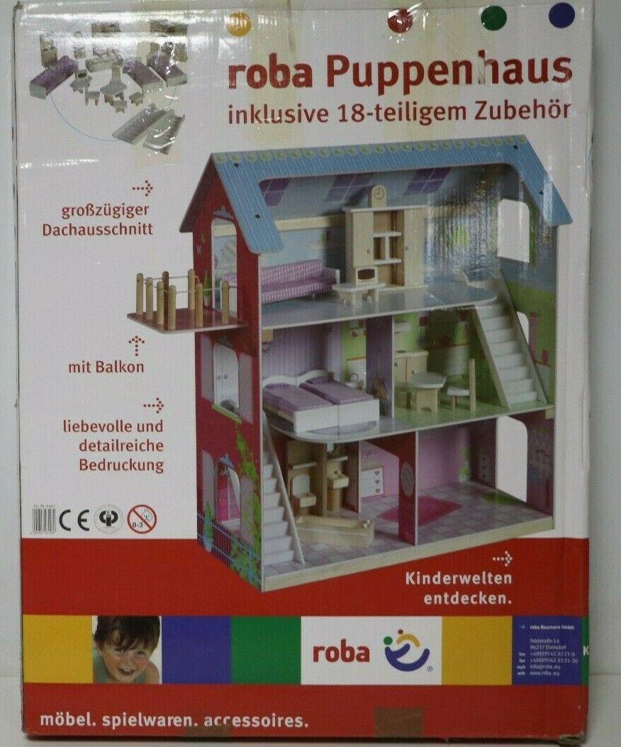 Roba Puppenhaus Puppenhaus Puppenhaus Puppenvilla inkl. 16 Puppenmöbel Mädchen-Spielzeug bedruckt 5dc585