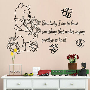 Wall Decals Kids Winnie The Pooh Vinyl Decal Quote How Lucky I Am