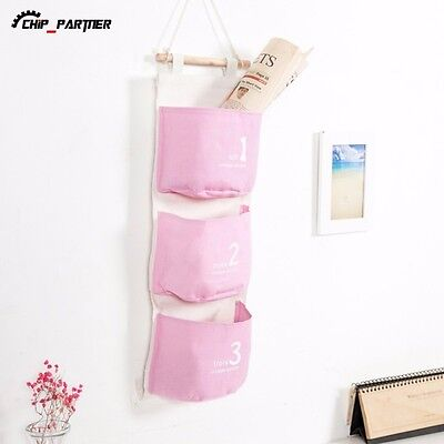 Closet Door Home Wall Hanging Organizer Storage Stuff Bags Pouch 3 Pockets